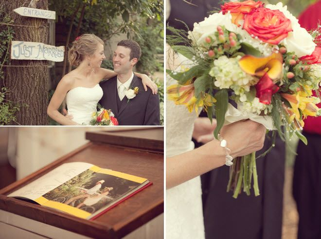 Bride's rustic bridal bouquet with coral roses, yellow and ivory flowers; bride and groom pose near