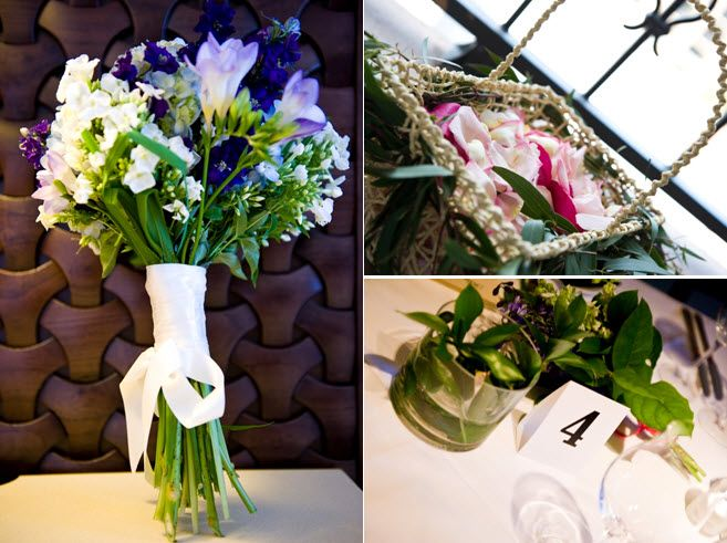 Purple and ivory flowers for beach bride's bouquet; modern black and white wedding reception table d