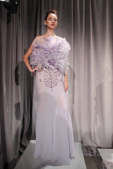 This lavender wedding dress from Marchesa has hints of feathers.