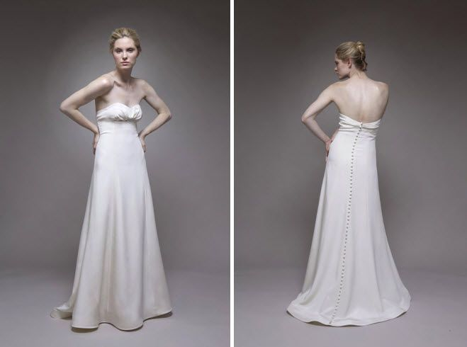 Silk crepe modified a-line strapless ivory wedding dress