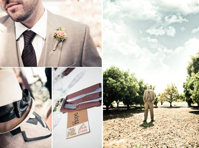 Casual California groom wears grey suit and chocolate brown tie; Love-inspired reception table decor