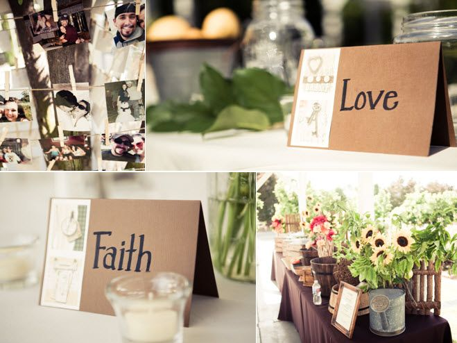 Love and Faith for reception table names; gorgeous country-chic welcome table