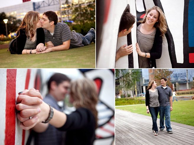 Playful, casual nearlyweds pose outside at Discovery Lake in Houston, TX