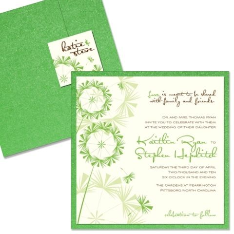 This green and cream wedding invitation features modern fonts and dandelion images.