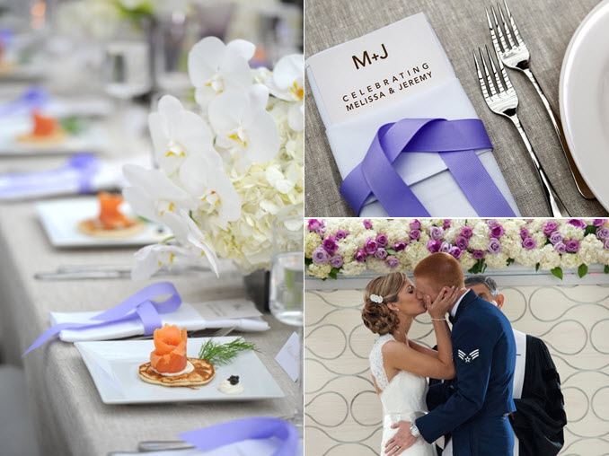Fresh modern wedding reception decor white and periwinkle purple color