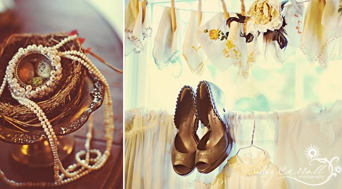 Bride wears antique pearls and baubles, and chocolate brown peep-toe bridal heels