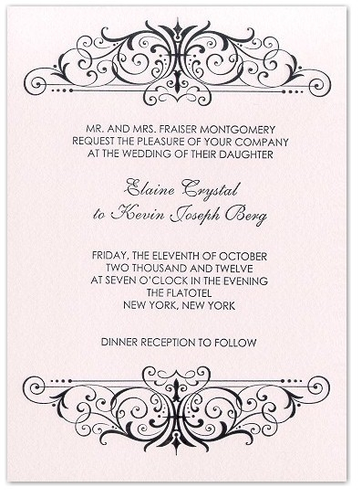Classic chic letterpress wedding invitation with black scroll pattern