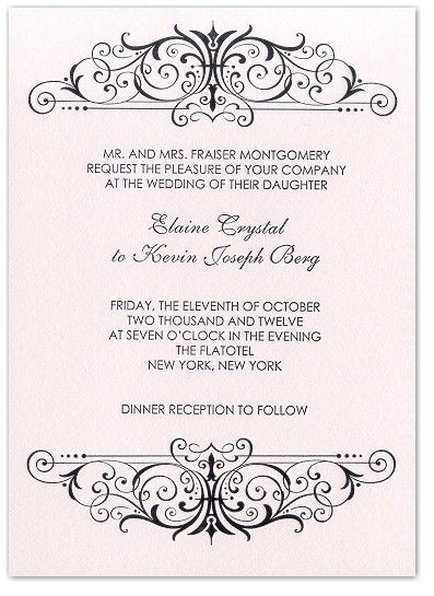 Classic, chic letterpress wedding invitation with black scroll pattern