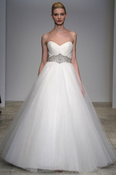Sweetheart neckline white tulle wedding dress with gorgeous jeweled bridal belt