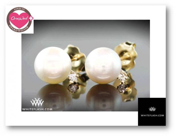 Akoya pearl, yellow gold, and diamond earrings from Whiteflash