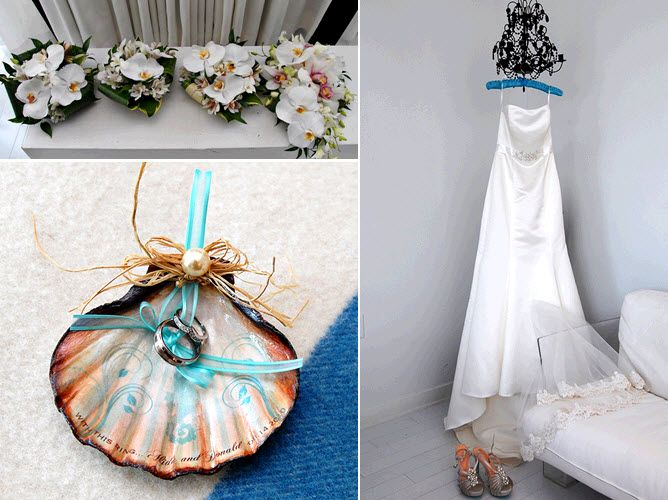 Long Branch, NJ summer wedding- seashell ring bearer pillow, white orchid bridal bouquet, white stra