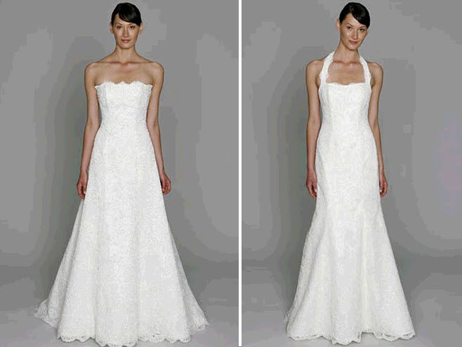 Classic white lace wedding dresses from Bliss by Monique Lhuillier