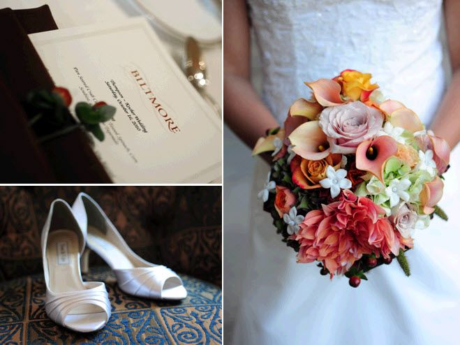 Fall fresh flowers bridal bouquet and white satin peep-toe bridal heels
