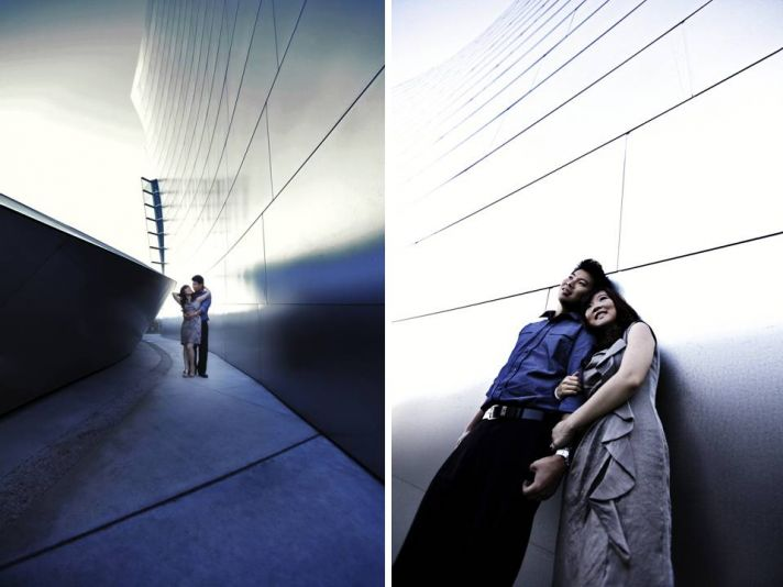 Young California bride and groom pose for engagement shots at the Artistic Los Angeles, CA e-session