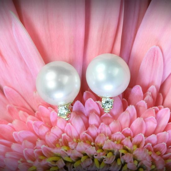 Gorgeous pearl and diamond earrings from Whiteflash!