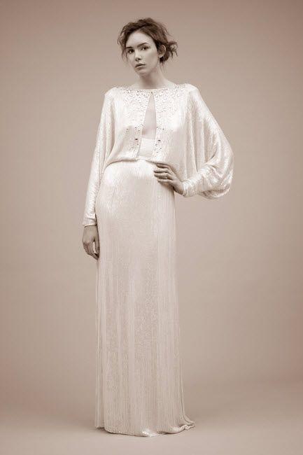 Long sleeved silk sheath wedding dress with slit keyhole on bodice by Jenny Packham