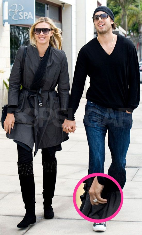Maria Sharapova walks with fiance Sasha Vujacic, shows off her engagement ring worth $250,000!