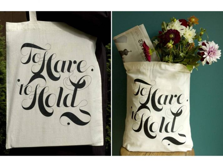 "Chic and eco-friendly tote bag for your wedding, black silk screened writing reads ""To Have and To H"