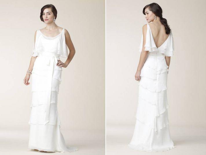 2011 Amy Kuschel wedding dress- off-the-shoulder scoop neck tiered layers, open back