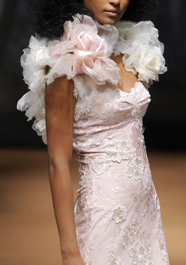 2011 blush pink wedding dress by Claire Pettibone with floral applique and statement bolero