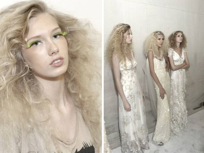 Teased out curls create a high-fashion wild bridal hairstyle