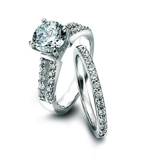Platinum and diamond engagement ring by Lieberfarb