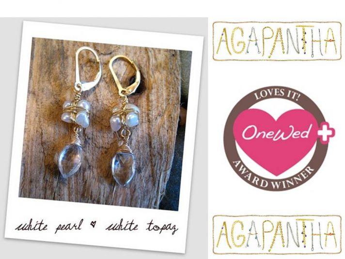 Elegant white topaz and pearl bridal earrings