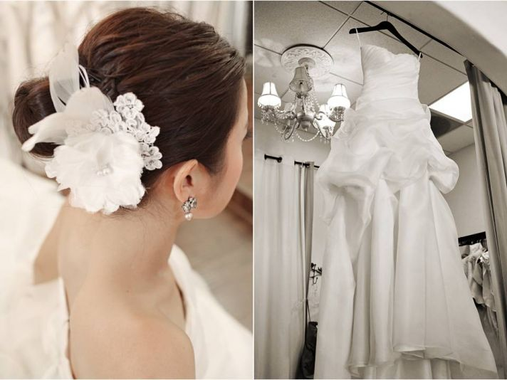 California bride wears classic bridal updo accented with a white flower hair accessory