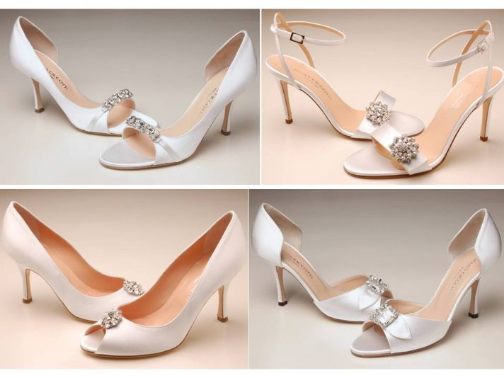 Italian peep-toe and open toe bridal heels with Swarovski details