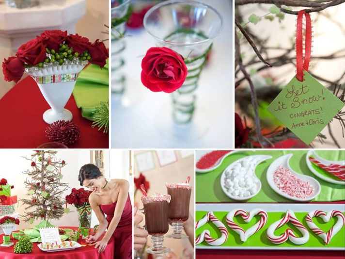 Red roses create gorgeous holiday-inspired winter wedding table centerpieces