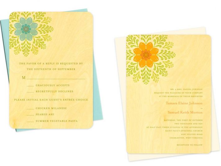 Unique eco-chic wooden save-the-dates with lovely blue, orange and green flower design