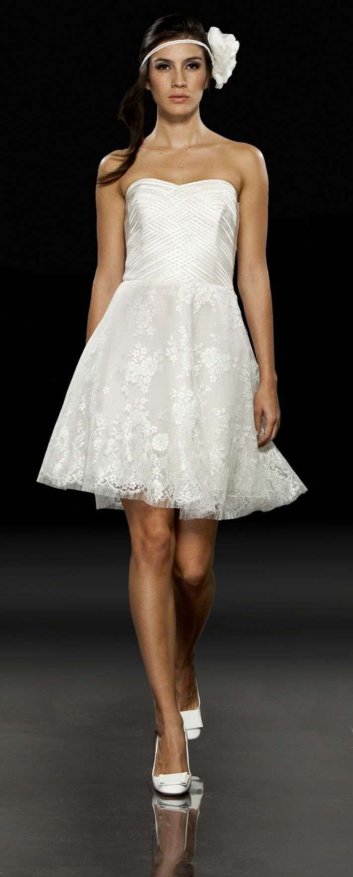 White mini wedding reception dress with lace skirt and strapless neckline