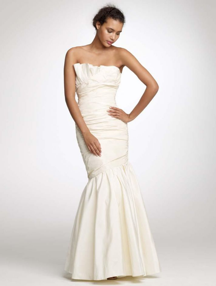 Classic ivory strapless mermaid wedding dress from J.Crew's 2011 collection