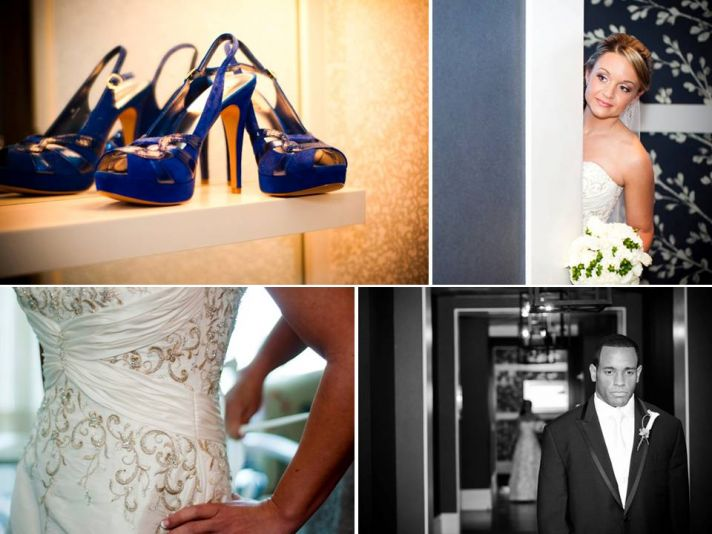 Bride's something blue- strappy platform blue bridal heels
