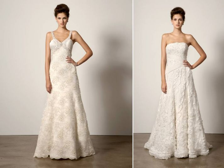 Chic ivory wedding dresses with beading and lace by Ines di Santo