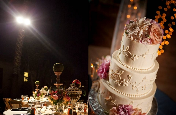 outdoor-california-wedding-nightfall-traditional-wedding-cake-romantic-decor