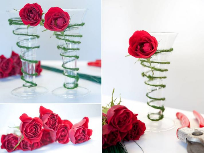 DIY red rose adorned champagne toasting flutes for winter wedding