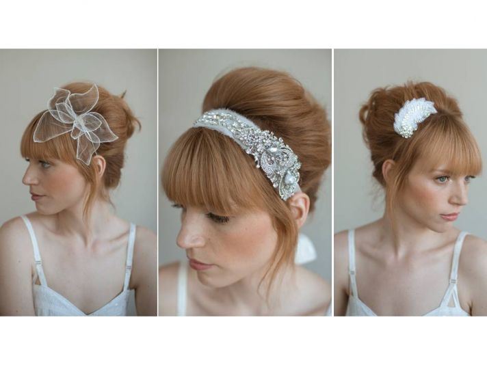 Romantic bridal style- lace, rhinestone, pearl embellished bridal headbands