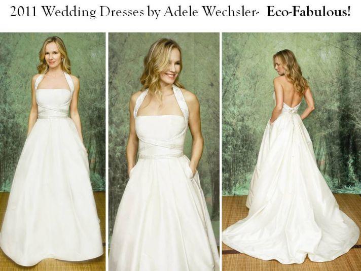 Stunning halter princess wedding dress with pockets, by Adele Wechsler