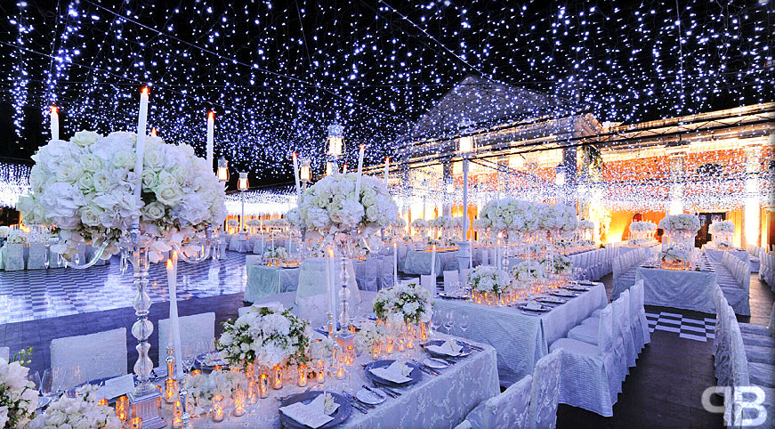 winter white wedding lights