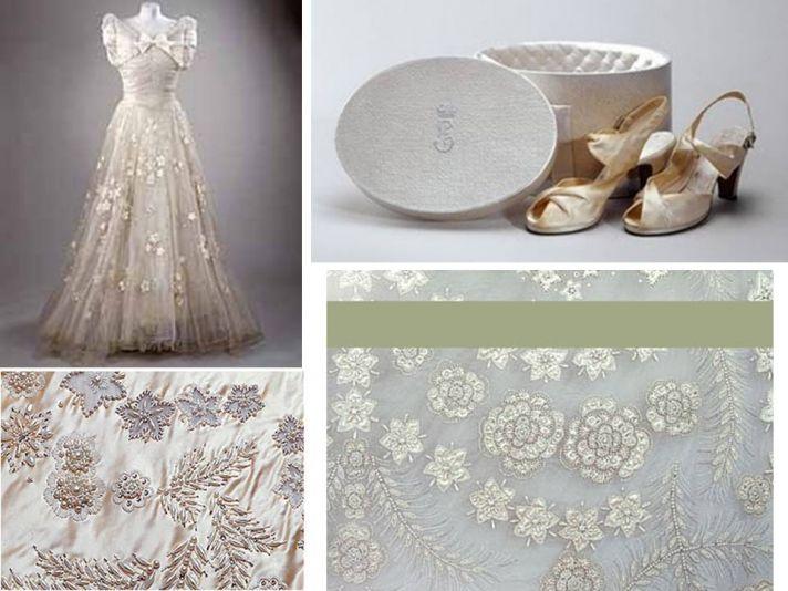Queen Elizabeth's royal wedding dress with intricate beading; peep-toe royal bridal heels
