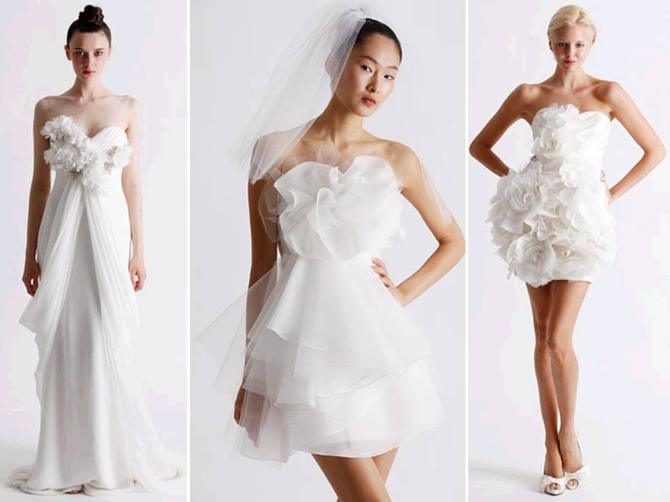 Credit Whimsical white wedding and reception dresses by Marchesa