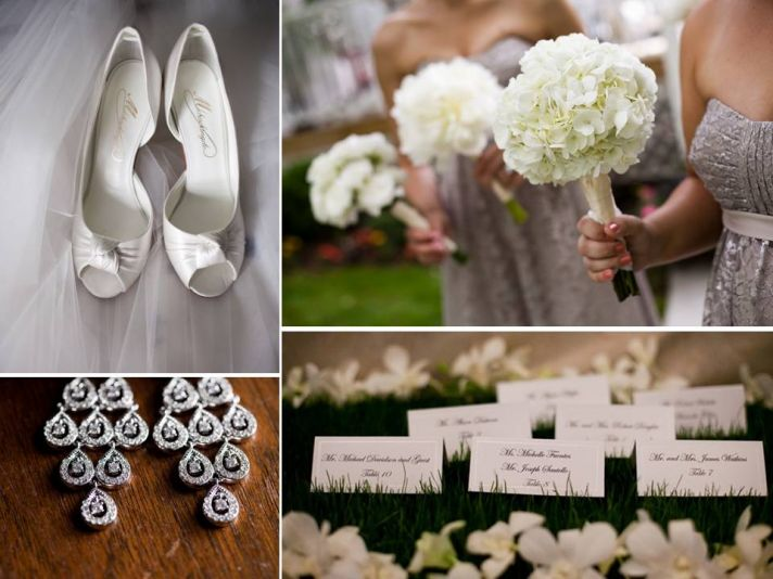Romantic New Jersey wedding with white bridal and bridesmaid bouquets, chic escort cards, and lovely