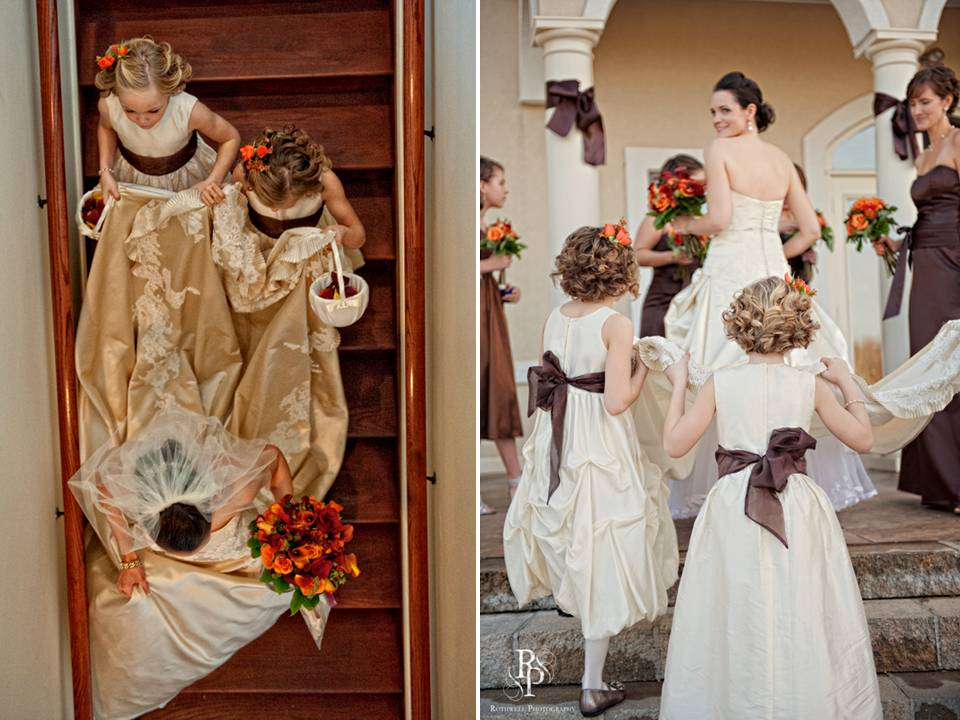 Flower girls in ivory dresses with chocolate brown sashes help bride with