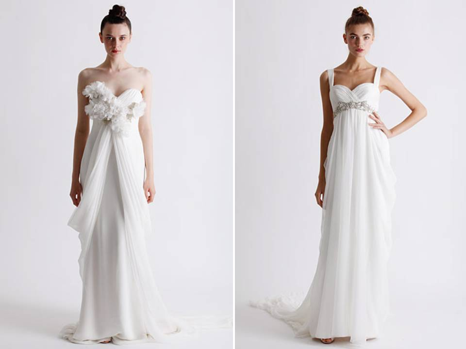 Bohemian chic Marchesa wedding dresses with romantic draping and