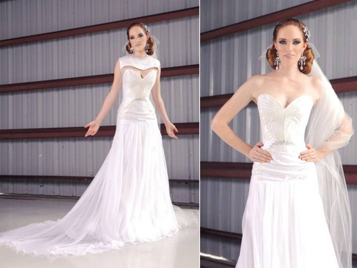 Gorgeous ivory modified a-line strapless wedding dress