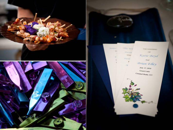 Personalized wedding guest favors, chic reception catering, lovely wedding menu