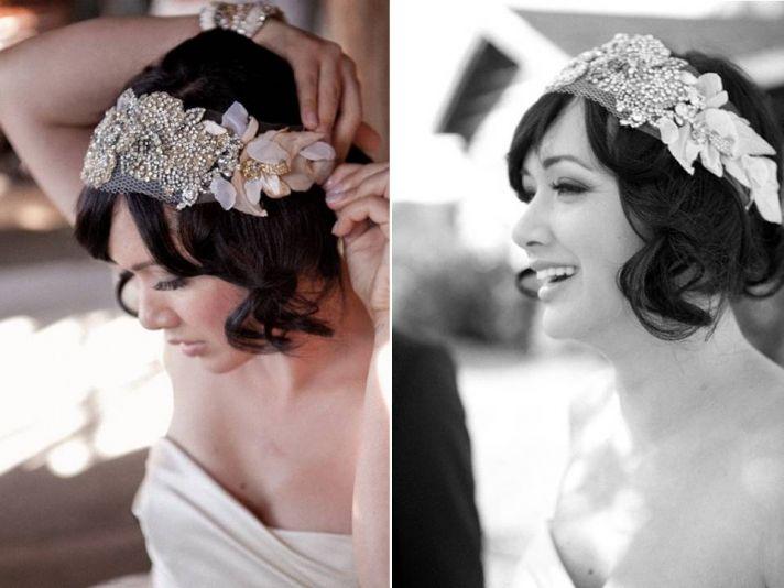 Dazzling beaded bandeau bridal headband available on Etsy