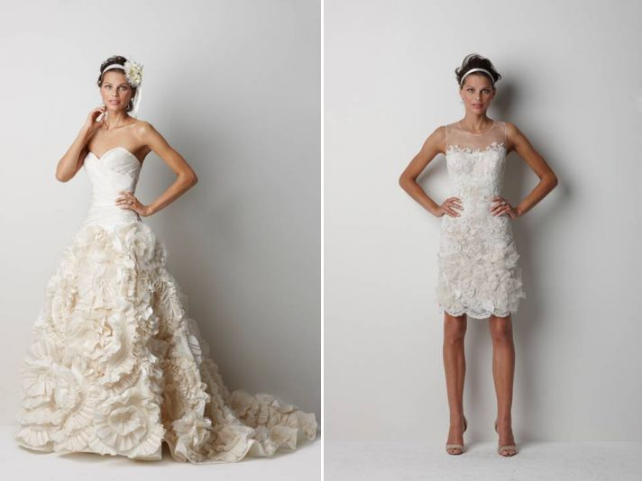 Texture-rich 2011 wedding dresses with floral applique and touches of lace