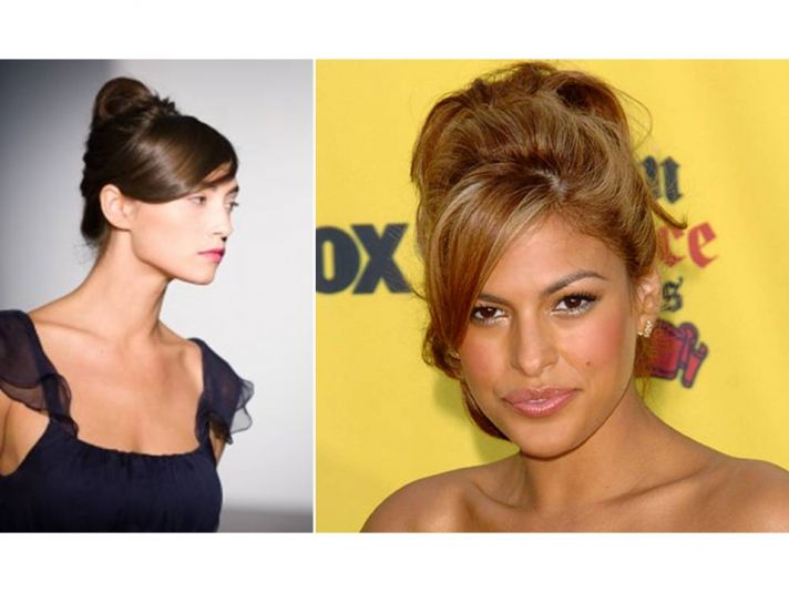 Updated French twist with fringe framing the face- the perfect bridal updo for modern yet classic br